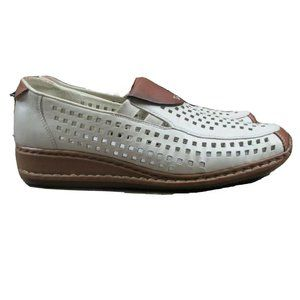 Rieker Shoes - Reiker Antistress Perforated Leather Loafers White